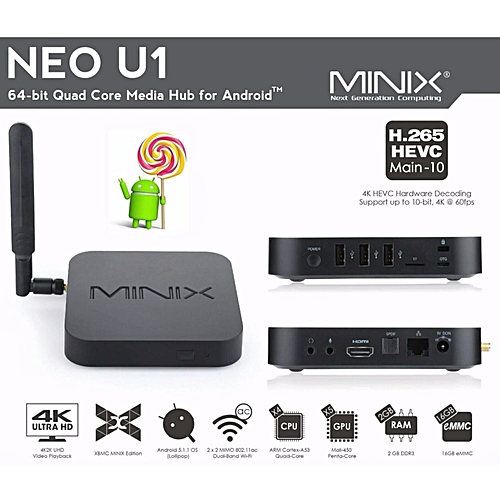 MINIX NEO U1 Quad-core A53 S905 Android 5 1 HDMI2 0 4K UHD IPTV Smart TV  BOX 2GB RAM / 16GB ROM (Black) YCMI-A