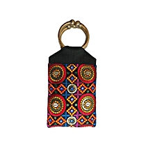 Raw Silk Embroidered Fashionista Bangle Bag- Black