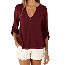 804449288f603 Casual Sexy Deep V Neck Chiffon Long Sleeve Blouse With Back Button - Wine  Red