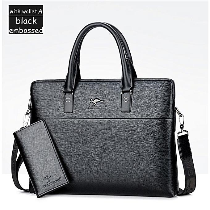0c9775d61ce9 Men briefcases big business Bag a4 notebook Split Leather formal work bags  Male Crossbody Messenger handbags(A black embrossed)