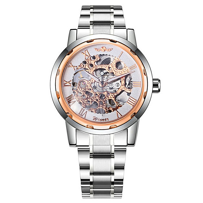 Men's Fashion, Business and Leisure Carved Space Gold Watchband Manual  Machinery Watch