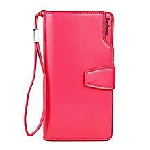 Baellerry Long Shaped Elegant Leather Women Phone Wallet- Pink