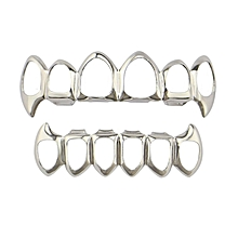 XHYT220 Hollow Out Hip Hop Teeth Grill Set Electroplate Vampire Grill Sets silver