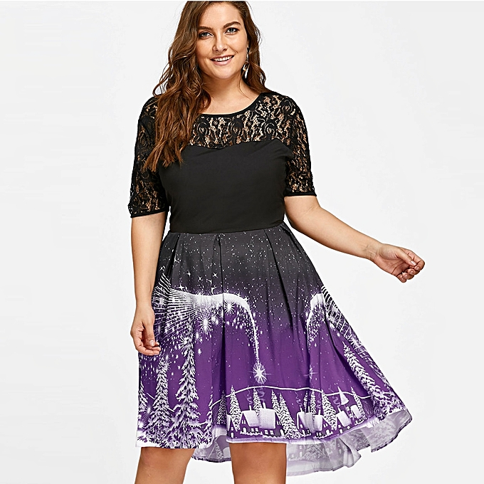 683f790cd6910 Womens Sexy Lace Plus Size Christmas Dress Backless Dress Ladies Casual  Dress