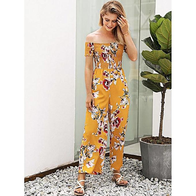 7df6f83de8 jiuhap store Woman Off Shoulder Strapless Floral Print High Waist Jumpsuits  Playsuits-Yellow