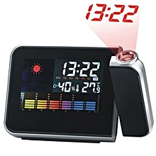 Digital Weather Forecast LCD Screen Projection Alarm Clock - Black
