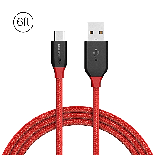 BlitzWolf® Ampcore BW MC5 2.4A Micro USB Braided Data Cable 6ft/1.8m for Samsung S7 Redmi Note 4