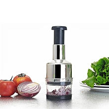 Pressing Kitchen Stainless Vegetable Garlic Onion Slicer Chopper Cutter-Silver