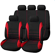 T21620 Universal Car Seat Cover 9 Set Full Seat Covers For Crossovers Sedans - Red