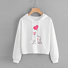 Xiuxingzi Women Sweatshirt Jumper Sweater Casual Crop Top Coat Printed Pullover Hoodie
