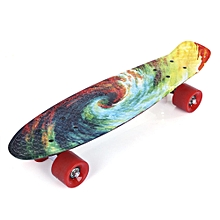 22 Inch Printing Pattern Four-wheel Long Skateboard PP Board Deck - Blue+Yellow+Green