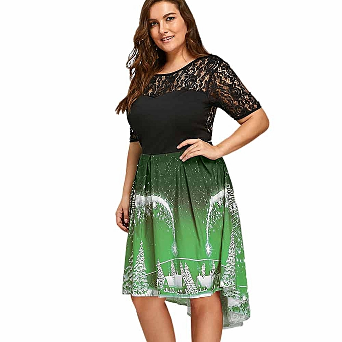 Buy Generic Womens Sexy Lace Plus Size Christmas Dress Backless