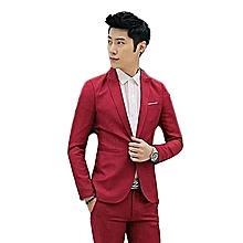 45830392b Wine Red Korean Style Men Suit Coat Slim Suit Men's Jacket Solid