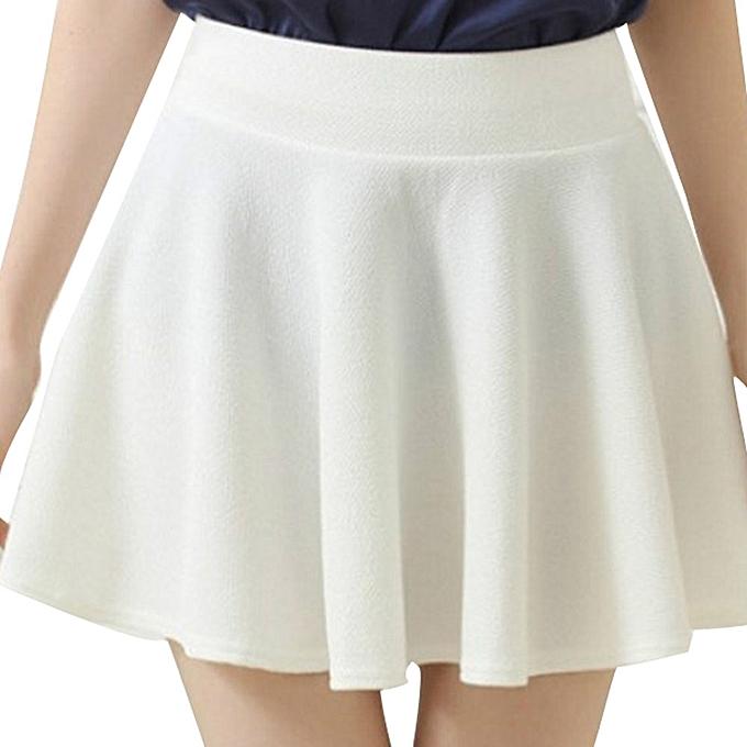 d9af7c91d Women Lady High Waist Plain Skater Flared Pleated Short Mini Skirt Shorts  Skirts- White