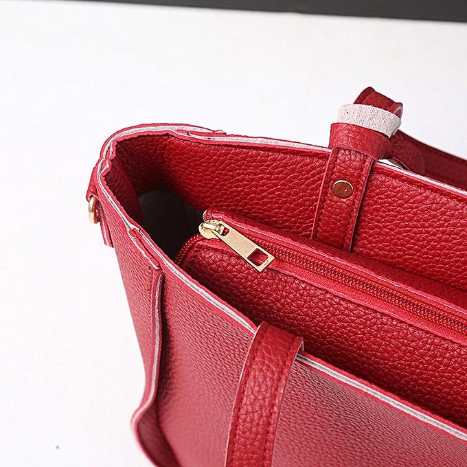 bca9a8e516 ... guoaivo Women Four Set Handbag Shoulder Bags Four Pieces Tote Bag  Crossbody Wallet RD ...