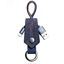 Jeans Data Cable With Key Chain For IPhone 7/7plus 0.2m - Deep Blue