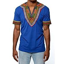 African dashiki  print  T-shirt - Royal blue