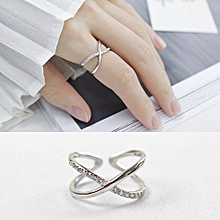 Fashion Simple X Twisted 925 Sterling Silver Adjustable Ring
