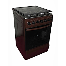 SGC5470BRN-Electric Cooker 50X55 with 3 Gas Burners + 1 Hot Plate-Stainless steel With Tempered Glass-TOP-Brown