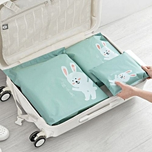 3 Pcs Travel Portable Storage Bags Cartoon Pattern Practical Waterproof Storage-Green