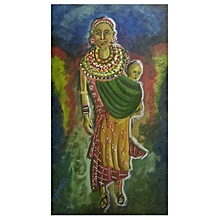 African wall painting - 62by 34 cms - multicolored