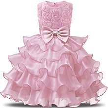 70fddaa77e80 Girls Clothes Flower Girl Dress Sleeveless Tulle Wedding Party Princess  Dresses - Pink