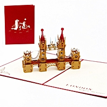 London Bridge 3D Birthday Card Pop Up Hollow Carved Cards For UK Travellers red