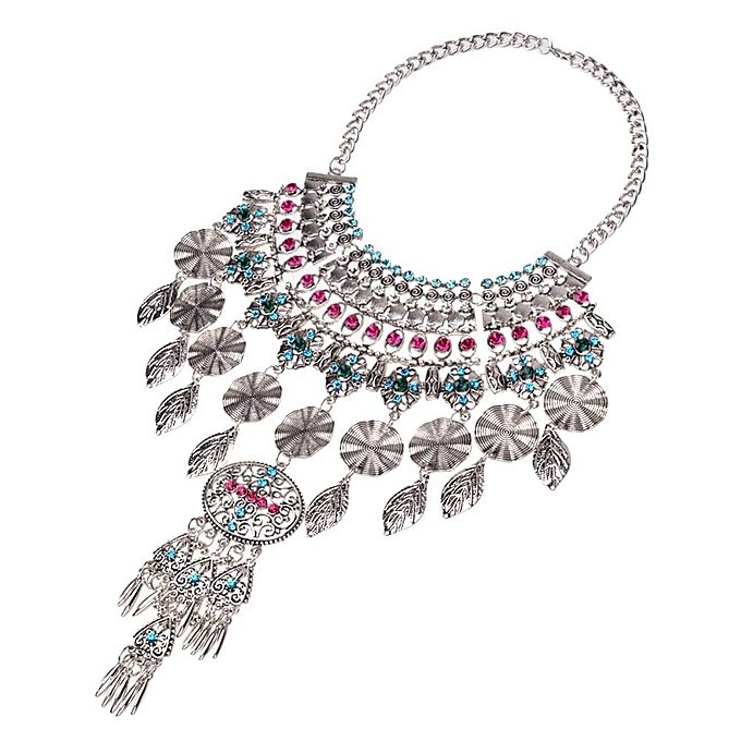 7e872d3dda4e ... Women Luxury Colorful Crystal Diamond Pendant Statet Necklace Chunky  Chokers Collar (Color  ...