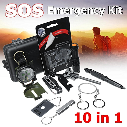 3969ca5eef0 Generic 10 in 1 Kit SOS Emergency Survival Equipment Gear Tools Tactical  Outdoor Camping