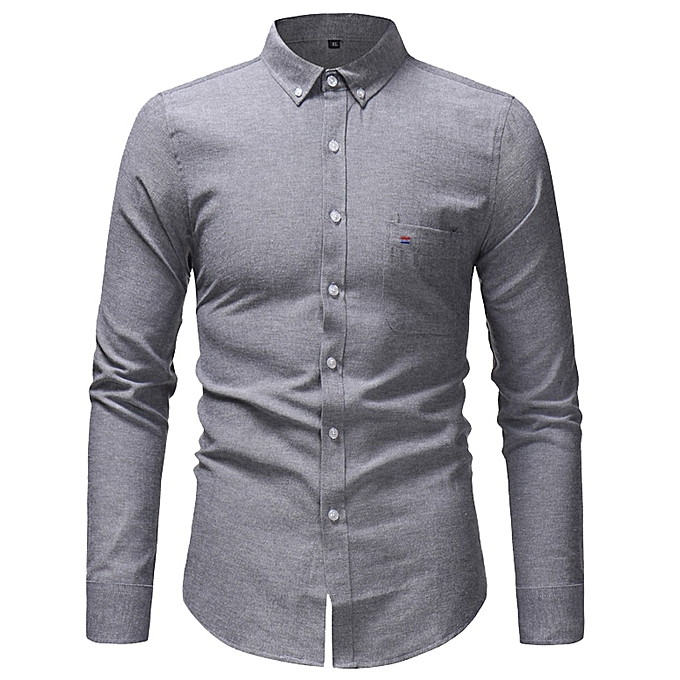 c2269a5821bd Men Spring Winter Casual Solid Color Long Sleeve Slim T-Shirt Top Blouse