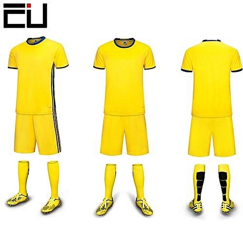 3f3ec28c1 Longo Customized Youth Men s Football Soccer Team Sports Shirts Shorts  Jersey-Yellow(6109)