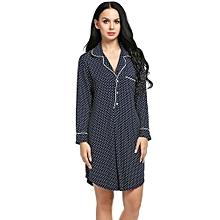 Women Turn Down Collar Long Sleeve Polka Dot/Solid Lounge Long Sleep Shirt Sleepwear ( Floral )