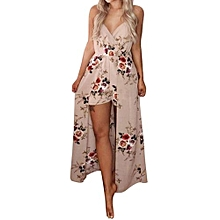 bluerdream-Women Summer Sleeveless Flower Party Jumpsuit Playsuit Beach Trousers L-Khaki