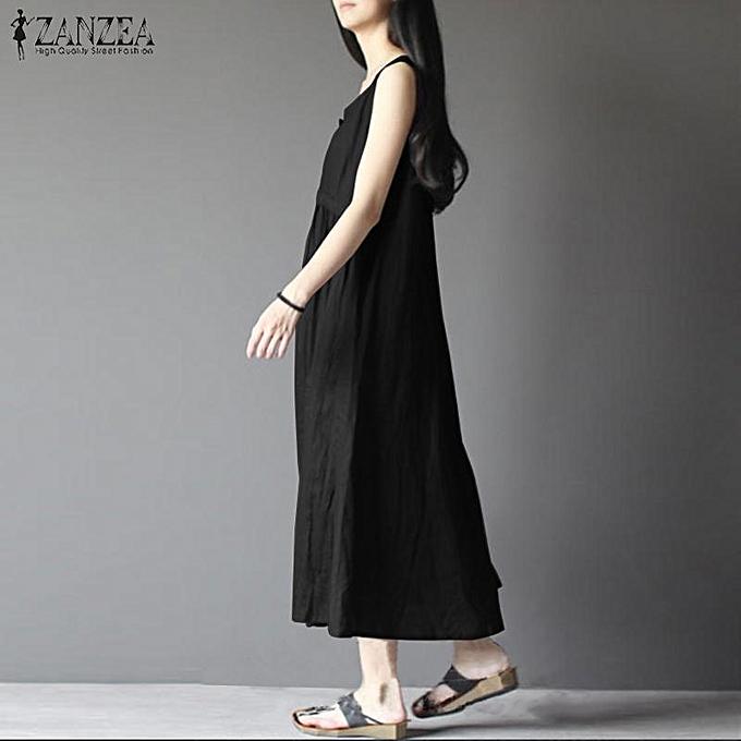 818b04b5ea3b2 ... ZANZEA Women Sleeveless Long Maxi Sundress Kaftan A-Line Plus Size Dress  ...