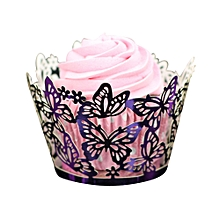 50PC Laser Cut Cupcake Liner Baking Cup Hollow Paper Cake Cup DIY Cupcake-Purple