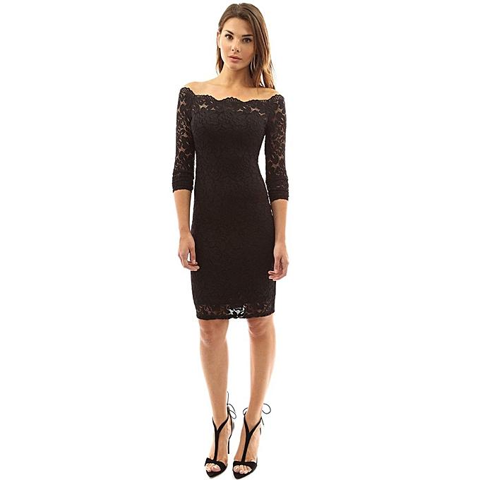 Buy Generic Tb Women Lace Sexy Off Shoulder Knee Length Dress Long
