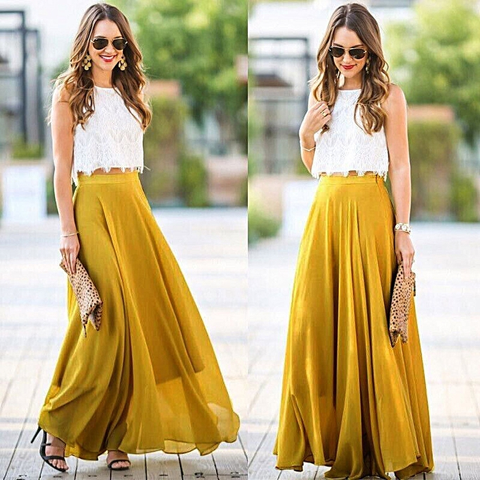 269c36313a492 Fashion Hiamok Women Chiffon Stretch High Waist Maxi Dress. Crop Tops And  ...