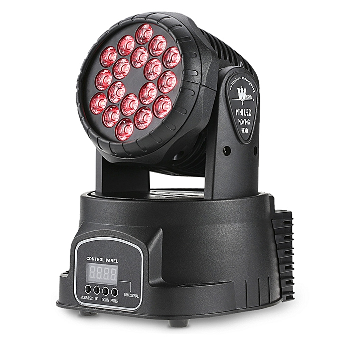 18 x 3W RGB 3 in 1 Color Mixed LED 3/9 Channel Mini Moving Head Light Wash  Effect Stage Lamp Support DMX-512 Sound Activation Strobe for DJ Wedding