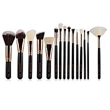 15 Pcs Nylon Face Eye Lip Makeup Brush Set-BLACK