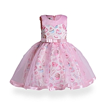 4896e764273d Kids Girls Dresses Ice Cream Print Princess Dress Party Pageant Lace Tulle  Dress Candy Color