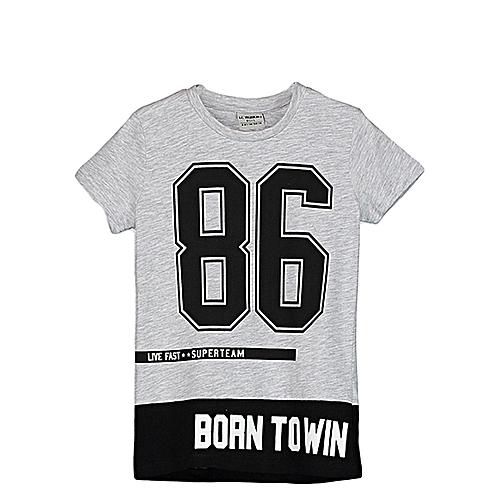 Boy Grey Solid Crew Neck T-Shirt