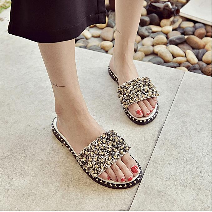 1fedb9b0d Fashion Women Ladies Studded Flash Bling Glitter Rivets Flip Flops Flats  Sandals