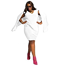 Refined Big Size Dress Arthsdite Rose Patchwork V Neck Casual Loose Dresses-white