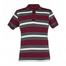Maroon Striped Mens Polo Shirts