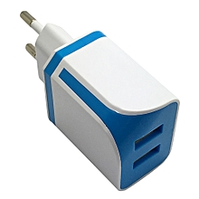Dual USB Ports Home Wall Travel AC Power Charger Adapter For Samsung EU BU-Blue