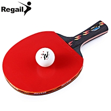 D003 Table Tennis Ping Pong Racket One Long H+le Paddle With Ball - Red + Black