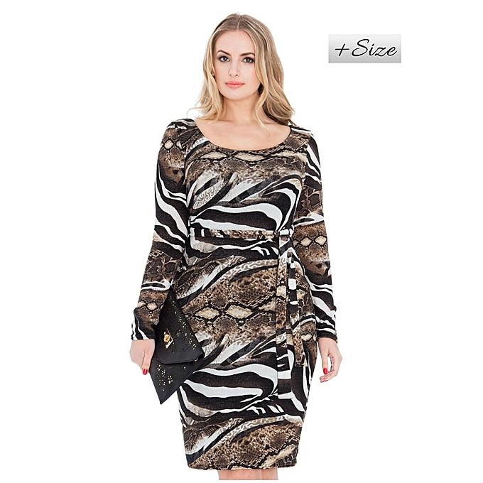 Buy The Fashion Frenzy Brown Animal Print Plus Size Bodycon Dress
