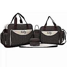 Brown With White Polka Dots 5 In 1 Diaper Bag With A Mat