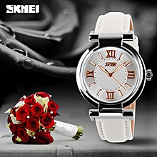 Women Fashion Luxury Dress Watch, 30M Waterproof Leather Strap Quartz 9075