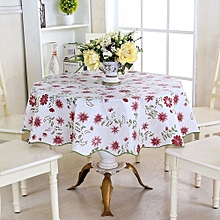 60'' Round Household Home Picnic Water Resistant Oil-proof Tablecloth PEVA Cover Nine-petals Flower Pattern